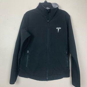Women's Black Soft Shell Jacket Fleece Tesla Logo